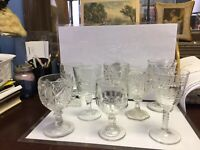 ANTIQUE LOT OF 8 CUT & ETCHED GLASS WATER WINE GOBLETS STEMMED & FOOTED