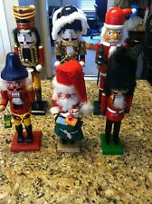 "6 Nutcracker lot 15"" 12"" 11"" lot Santa Village Christmas decoration standing use"