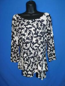 Leifsdottir M Black White Peplum Top 3/4 Sleeve Knit Shirt Side Slit Hem md