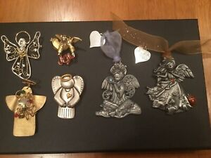 Christmas Lot of Angel Pins (some Signed / Handmade) + 2 Duchin Pewter Ornaments