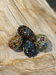 SET/LOT OF 4 X CHAMILIA KALEIDESCOPE STERLING SILVER MULTI COLOUR CRYSTAL CHARMS