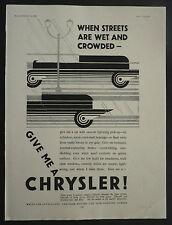 Chrysler Car Art Deco 1928 1 Page Advertisement Ad