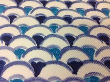 Jim Thompson Wave Scallop Print Upholstery Fabric- Furoshiki/Blue Ribbon 3.50 yd