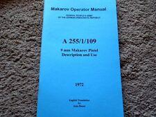 1972 East German 9mm Makarov Operator Manual English Translation