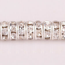 50pcs 8mm Crystal Rondelle Silver Plated Spacer Beads For Jewelry Making