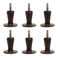 2-Piece Metal Stem Bed Frame Glides/Feet/Legs w/Socket Sleeves - Set of 6
