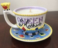"Mary Engelbreit ""Queen Mother� Vtg2004 Tea Cup And Saucer With Candle And Crown"