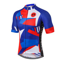 Blue-Red Men Pro Bicycle Bike Half Sleeve Cycling Jersey Clothing Shirt S-3XL