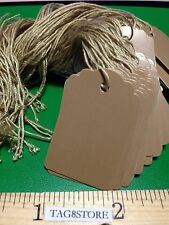 """New 500 Brown Scallop Paper Price Tags Strung Boutique Retail Clothes 1 x 1 5/8"""""""