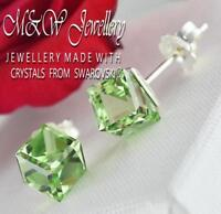 925 Sterling Silver Stud Earrings CUBE 6mm - Peridot Crystals From Swarovski®