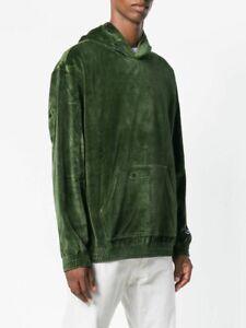 Champion Velour Oversized Hoodie Men's Moss Green Activewear Solid Sportswear