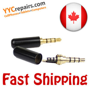 3.5mm 4 Pole TRS Male Replacement Audio Jack for All Headphones Plug Repair Gold