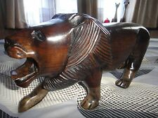 Ghana African Handcarved Traditional Lion Sculpture Ebony Carving RARE!!!!