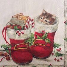 paper napkins decoupage x 2 Christmas sweet boots 25cm