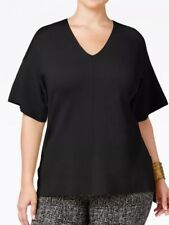 Alfani Womens Plus Size Milano Dolman-Sleeve Top 2X Deep Black