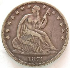 1871 SILVER UNITED STATES SEATED LIBERTY HALF DOLLAR COIN VERY FINE+ CONDITION