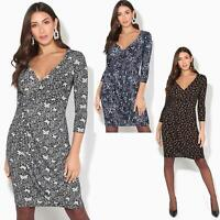 Womens Plunge Dress V Neck Midi Top Cross Wrap Knee Long Skirt Office Party