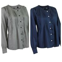 Ladies Womens Grey or Navy Cotton Pintuck Frill Front Long Sleeve Blouse Shirt