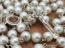 White Pearl Beads Rosary Catholic Necklace Religious Jerusalem Holy Soil & Cross
