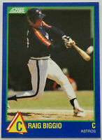 1989 SCORE RISING STARS BASEBALL Craig Biggio Rookie Card #98 RC NM Astros HOF