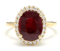 5.80 Carats Red Ruby and Natural Diamond 14K Solid Yellow Gold Ring