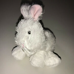 """Ganz Webkins Lil Kinz White Bunny Rabbit 7"""" Pink Ears Easter Gently Used HS078"""