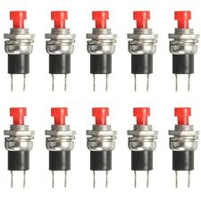 10X Miniatur Drucktaster Schließer 250V 0.5A ON/OFF SPST 2 Kontakte 2 Pins Rot