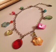 Pretty Bead & Shell Charm Bracelet/Rainbow Colours/Hippy/Boho/Claires/Delicate