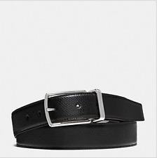 NWT COACH MODERN HARNESS CUT-TO-SIZE REVERSIBLE LEATHER BLACK BELT F64826