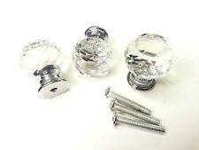 10x 25mm ROND à facettes K9 Verre Coupé Façon Cristal Tiroir Meuble