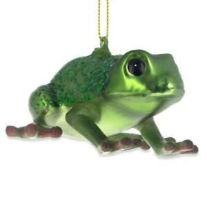 Green Frog Glass Christmas Ornament