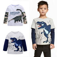 Toddler Boys Dinosaur T-shirt Tops Casual Cartoon Long Sleeve Cotton Tee Blouse