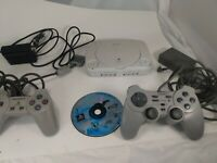 Sony PlayStation 1 PsOne Slim Console Bundle SCPH-101 Tested 3 Controllers