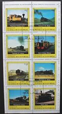 EQUATORIAL GUINEA 1979 Railway Locomotives Trains. SHEETLET of 8. USED/CTO.