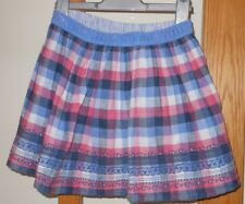 FAT FACE - Girls Pretty Blue Pink White Check Elasticated Skirt 8-9 Years