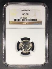 1969-D Roosevelt Dime NGC MS-68, Buy 3 Items, Get $5 Off!!