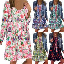 Womens Boho Floral Long Sleeve T-Shirt Dress Ladies Casual Sundress Plus Size