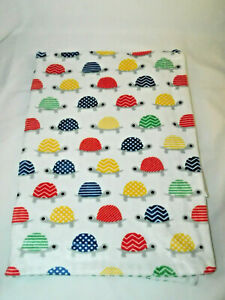 SL Home Fashions Green White Stripes Baby Blanket Colorful Turtles