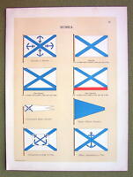 FLAGS Russia Naval Marine Admiral Commodore - 1899 Color Litho Print