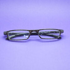 Circle in Circle Dot Graphic Black Silver Frame Reading Glasses Lens Power +3.50