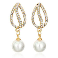 Vintage Style White Pearls Tulip Gold Yellow Bridal Drop Stud Earrings E1323
