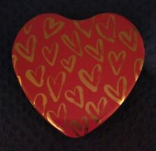 "Red & Gold Empty Heart Shaped Tin 6 Inch x 6""  Depth 1.25""  Valentines Keepsake"