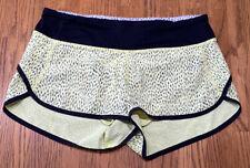 Lululemon Tracker III Sz 4 Shorts Dottie Dash Clarity Yellow Black Animal Print