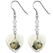 Dandie Dimont Terrier 925 Silver Heart Mother Of Pearl Dangle Earrings EP70