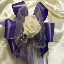 10 Cadburys Purple Floristry Ribbon with Ivory Tulle & Rose wedding Pew Bows NEW