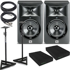JBL LSR305 Powered Studio Monitor-Pair with Stands & Isolation Pads & Cables