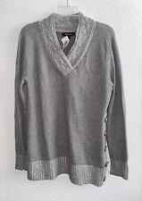 Style&co. Sz L Long Sleeve Shawl Neck Knit Ribbed Cuffs & Hem Sweater Gray