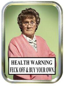 Brown Warning 2oz Gold Tobacco Tin,  Sweet Tin, Storage Tin , Pill Box, Craft