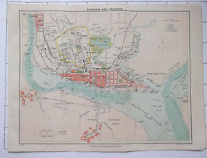 INDIA ~ Rangoon And Environs ~ Antique 1909 Colour Folded Small Map Plan