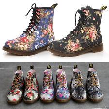 Neu Damen Schuhe Blumenmuster Retro Boots Stiefeletten Kleiner Absatz Stiefel DE